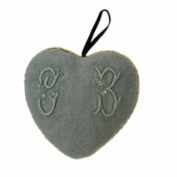 Coeur tissu à suspendre broderie d'antan monogramme CB
