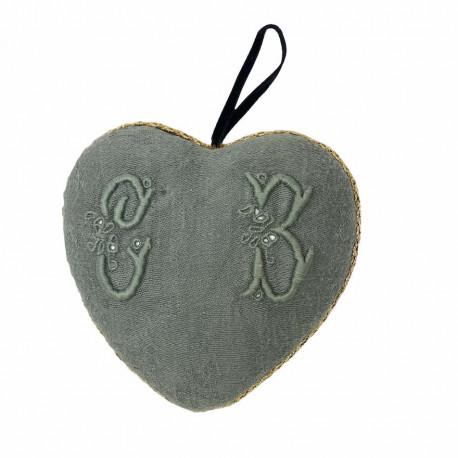 Coeur tissu à suspendre broderie d'antan monogramme CB - Villa Farese