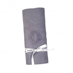 Serviette brodée main monogramme CD