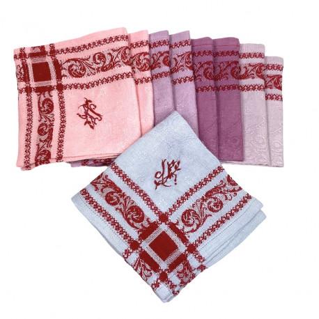 Huit serviettes apéritif cocktail broderie monogramme JF - Villa Farese
