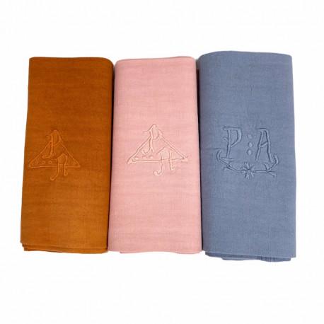 Trois Torchons d'antan Broderie main monogramme PA - Villa Farese