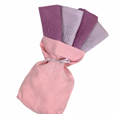 Quatre serviettes brodées d'antan monogramme RC - Villa Farese