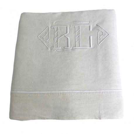 Drap ancien brodé main monogramme BC 220x280 - Villa Farese